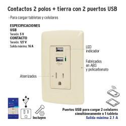 Contactos 2 Polos + Tierra con 2 Puertos USB VOLTECK