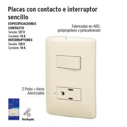 Placas con Contacto e Interruptor Sencillo VOLTECK