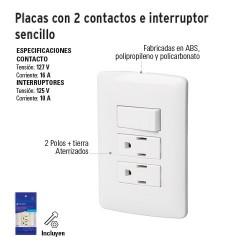 Placas con Dos Contactos e Interruptor Sencillo VOLTECK