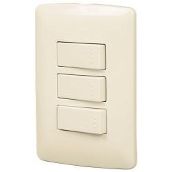 Placa con 2 Interruptores Sencillos +1 de 3 Vias VOLTECK