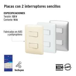 Placa con 2 Interruptores Sencillos VOLTECK