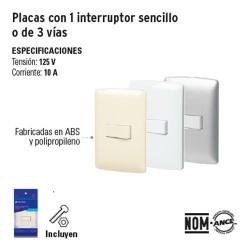 Placa con 1 Interruptor Sencillo o de 3 Vias VOLTECK
