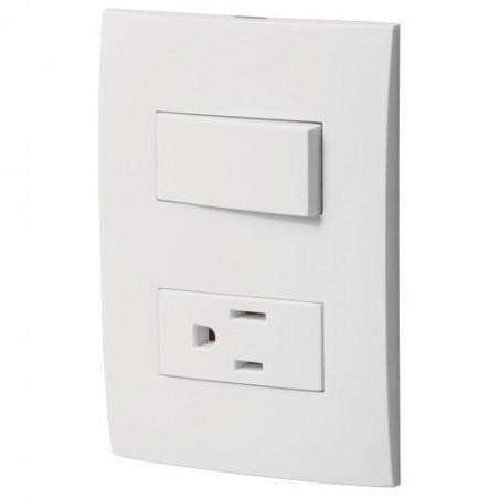 Placa con Contacto e Interruptor Sencillo VOLTECK