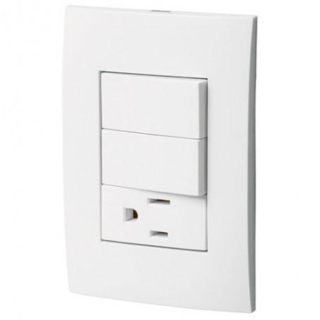 Placa con Contacto y 2 Interruptores Sencillos VOLTECK