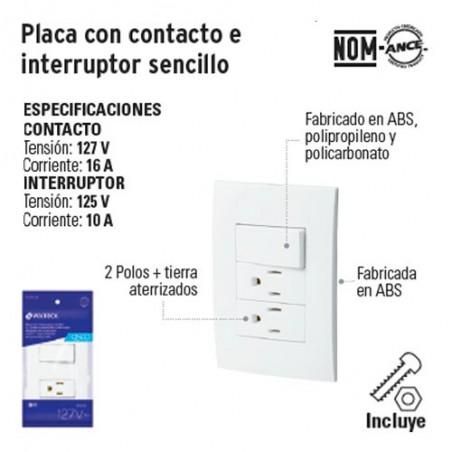 Placa con 2 Contactos e Interruptor Sencillo VOLTECK