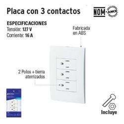 Placa con 3 Contactos VOLTECK
