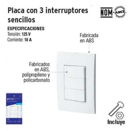 Placa con 3 Interruptores Sencillos VOLTECK