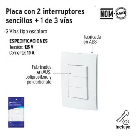 Placa con 2 Interruptores Sencillos + 1 de 3 Vias VOLTECK