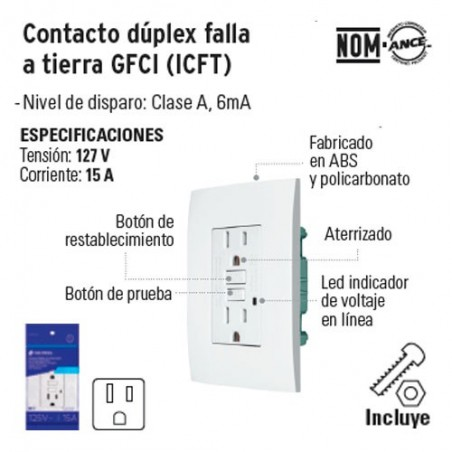 Contacto Duplex Falla a Tierra GFCI (ICFT) VOLTECK