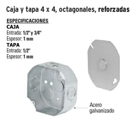 Caja y Tapa 4 x 4 Octagonales Reforzadas VOLTECK