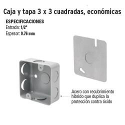 Caja y Tapa 3 x 3 Cuadrada Economica VOLTECK