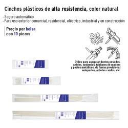 Cincho Plastico de Alta Resistencia Color Natural VOLTECK