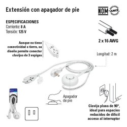 Extension con Apagador de Pie VOLTECK