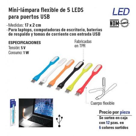 Mini-lampara Flexible de 5 LEDS para Puertos USB VOLTECK