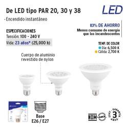 Lampara de LED Tipo PAR 20 30 y 38 VOLTECK