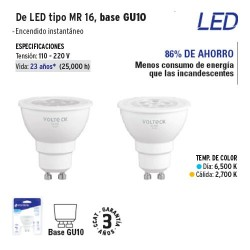 Lampara de LED Tipo MR 16 Base GU10 VOLTECK