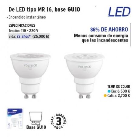 Lampara de LED Tipo MR 16 Base GU10 VOLTECK