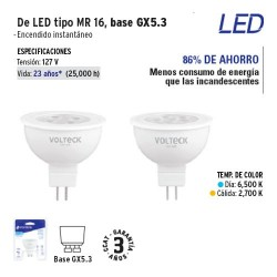 Lampara de LED Tipo MR 16 Base GX5.3 VOLTECK