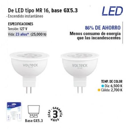 Lampara de LED Tipo MR 16 Base GX5.3 VOLTECK