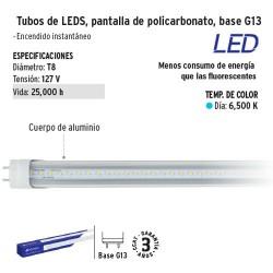 Tubo de LED Pantalla de Policarbonato Base G13 VOLTECK