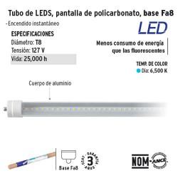 Tubo de LED Pantalla de Policarbonato Base Fa8 VOLTECK