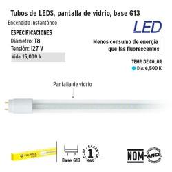 Tobo de LED Pantalla de Vidrio Base G13 VOLTECK