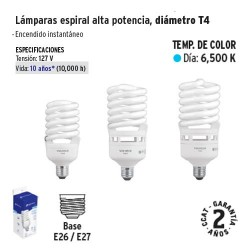 Lampara Espiral Alta Potencia Diametro T4 VOLTECK