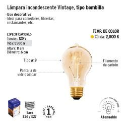 Lampara Incandescente Vintage Tipo Bombilla VOLTECK