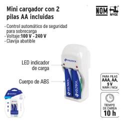 Mini Cargador con 2 Pilas AA Incluidas VOLTECK