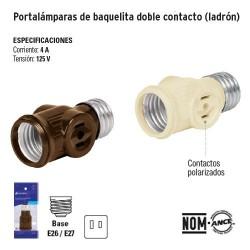 Portalampara de Banquelita Doble Contacto (Ladron) VOLTECK