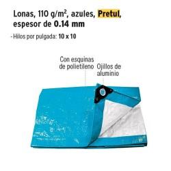 Lona 110 g/m² Espesor de 0.14 mm Azul PRETUL