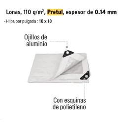 Lona 110 g/m² Espesor de 0.14 mm PRETUL