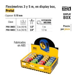 Flexometro 3 m en Display Box PRETUL