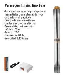 Bomba Eléctrica para Agua Limpia Sumergible tipo Bala TRUPER