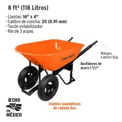 Carretilla 8 ft³ (118 Litros) Doble Llanta TRUPER