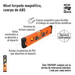 Nivel Torpedo Magnetico Cuerpo de ABS TRUPER