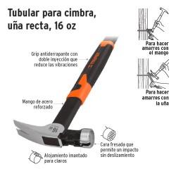 Martillo Tubular para Cimbra Uña Recta 16 oz TRUPER