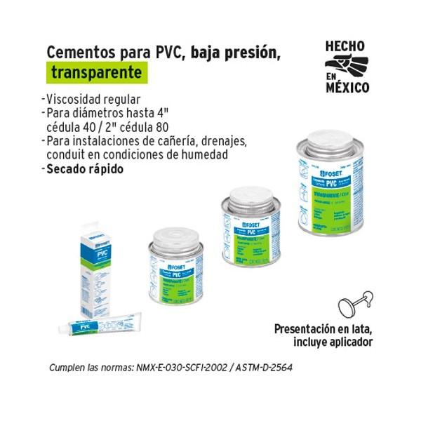 Pegamento Transparente para PVC Hidraulico FOSET