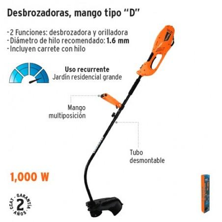 """Desbrozadora Electrica 1000 w 14"""" de Corte Mango """"D"""" TRUPER"""