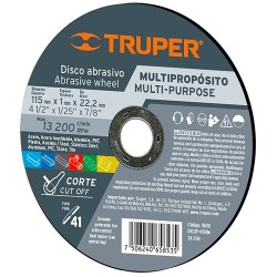 """Disco Abrasivo 4 1/2"""" para Corte Multimaterial TRUPER"""
