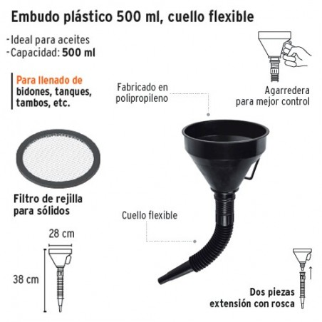 """Embudo Plastico Flexible 500 ml con Filtro 5"""" TRUPER"""