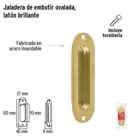 Jaladera de Embutir Ovalada Laton Brillante HERMEX