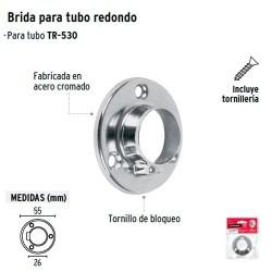 Brida Cromada para Tubo Redondo de Closet HERMEX