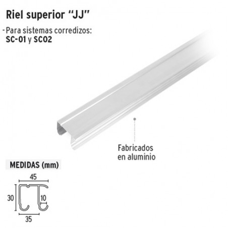 "Riel Superior ""JJ"" de Aluminio para Puerta Corrediza HERMEX"