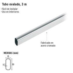 Tubo Ovalado Cromado para Closet 3 m HERMEX
