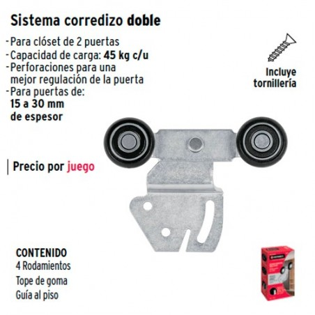 Sistema Corredizo Doble para Riel Superior de Closet HERMEX