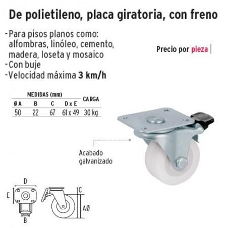 Rodaja de Polietileno Placa Giratoria con Freno FIERO