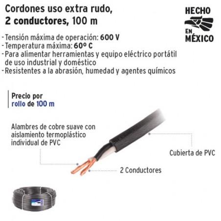 Cable Uso Extra Rudo 2 Conductores 100 m VOLTECK