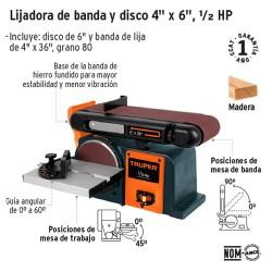 """Lijadora de Banda y Disco 4"""" x 6"""" 1/2 HP TRUPER"""