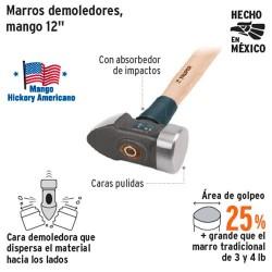"""Marro Demoledor Mango de Madera 12"""" TRUPER"""